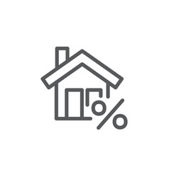 mortgage line icon on white background vector image