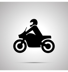 Motorcyclist simple black icon vector image