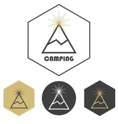 mountain camping logo set gold and grey vector image