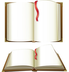Opened books with blank pages vector