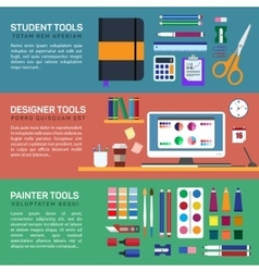 Painter and designer tools in workspace or boxes vector