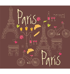 Paris symbols postcard hand drawn vector image
