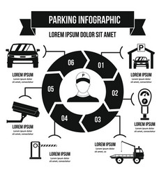 Parking service infographic concept simple style vector