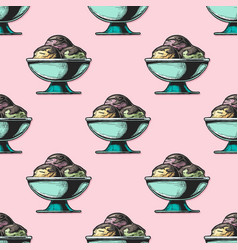 pattern with ice cream vector image