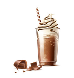 Realistic frappe coffee cream and chocolate vector