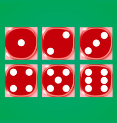 red dices on a green background vector image