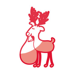 Red silhouette caricature of reindeer with vector