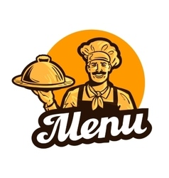 restaurant cafe logo menu dish food or vector image