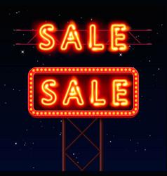 Sale neon signboard banner vector