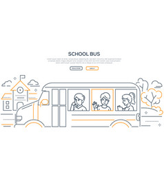 school bus - modern line design style banner vector image