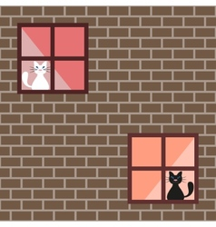 Seamless pattern of a cats in house windows vector