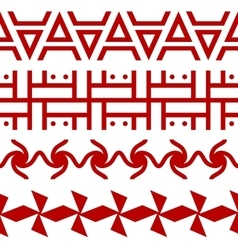 Set ethnic seamless borders russian slavic vector