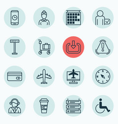 Set of 16 traveling icons includes locate vector