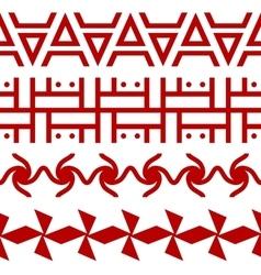 Set of ethnic seamless borders Russian slavic vector image