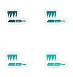 Set of paper stickers on white background hair vector