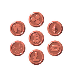 set of realistic bronze coins flat style isolated vector image