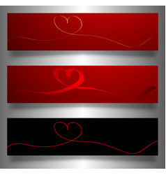 set valentines banners continuous line drawing vector image