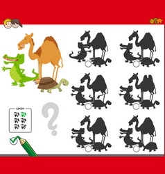 shadows game with animal characters vector image