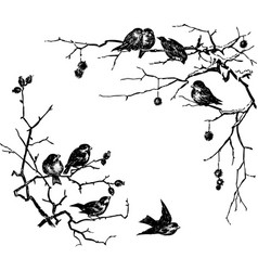 Sketches birds sitting on branches vector