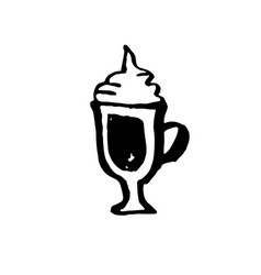 sweet coffee grunge icon ink brush vector image