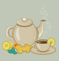 Teapot and cup ginger and lemon tea vector
