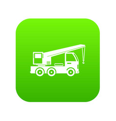 truck mounted crane icon digital green vector image