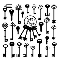 Vintage antique key collection vector