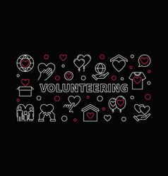 Volunteering concept horizontal linear vector