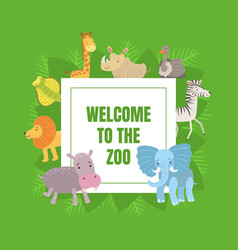 welcome to zoo banner template with cute vector image