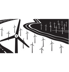 Wind turbines on land and at sea vector