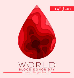 World blood donor day card june 14 awareness vector