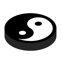 Yin yang 3d isometric icon vector image
