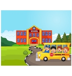 a school bus and kids infront of school vector image