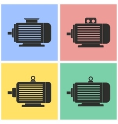 Electric motor icon set vector image vector image