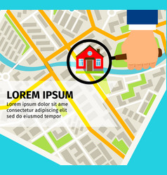search house on map concept vector image