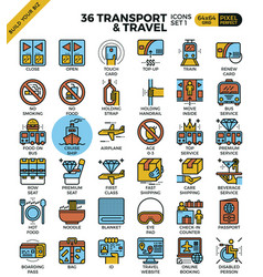 transport travel outline icons vector image vector image