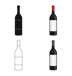 bottle of red wine icon in cartoon style isolated vector image vector image