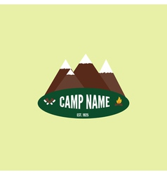 Camping colorful logo Mountain bonfire and crossed vector image vector image
