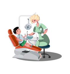 children s dentist and patient vector image