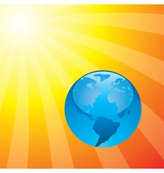 earth and the rising sun vector image vector image