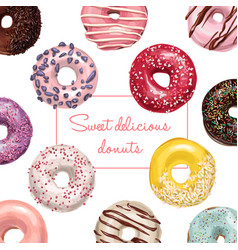 hand drawn tasty donuts vector image vector image