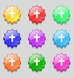 religious cross Christian icon sign symbol on nine vector image vector image