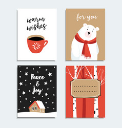 set of hand drawn christmas greeting cards vector image