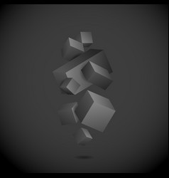abstract black 3d cubes vector image
