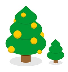 Christmas tree with gold balls Decorated Holiday vector image vector image