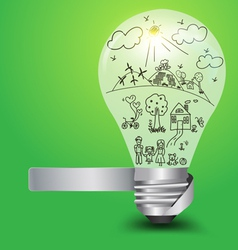 Creative light bulb with happy family and ecology vector image vector image