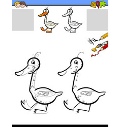 drawing and coloring worksheet with goose vector image vector image