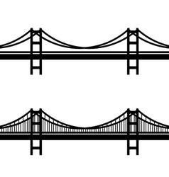 metal cable suspension bridge black symbol vector image vector image