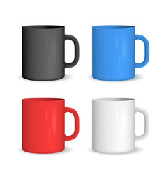 realistic color ceramic cup set vector image vector image