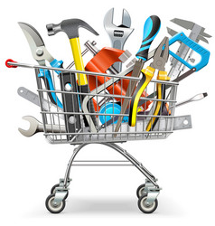 supermarket trolley with hand tools vector image vector image